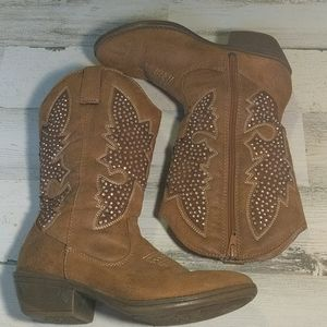 JUSTICE Tan Cowgirl Bling Boots Zipper Size 6